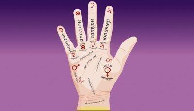 Рука с линиями на фиолетовом фоне