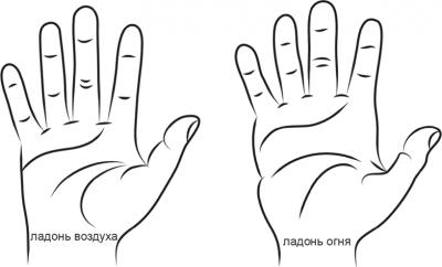 Форма рук по типам Стихий.