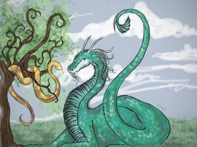 Дракон и змея на дереве
