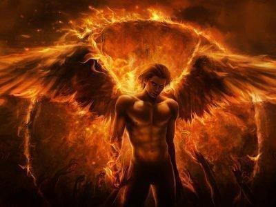 Мужчина с огненными крыльями