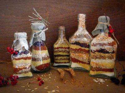 Бутылка с крупами