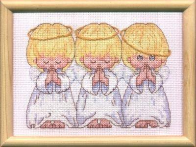 "Картина - вышивка ""Три ангелочка"""