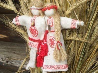 Куклы Неразлучники и сноп хлеба
