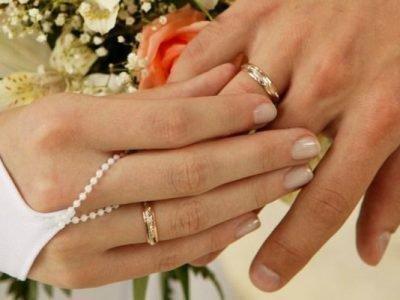 Обручальные кольца на мужской и женской руках