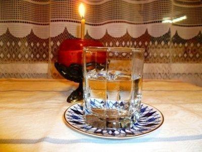 Атрибуты для освящения: свеча и свята вода