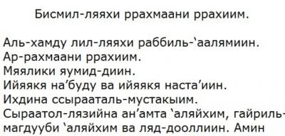 Текст молитвы Бисмиллахир в транскрипции