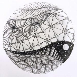 Ассиметричная мандала-тату эскиз