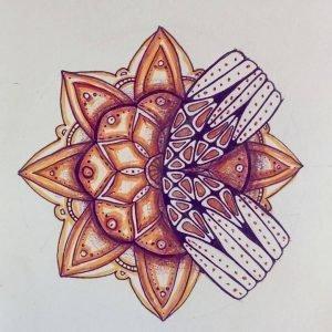 Ассиметричная мандала-тату - цветной эскиз
