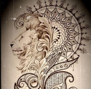 Тату мандала со львом