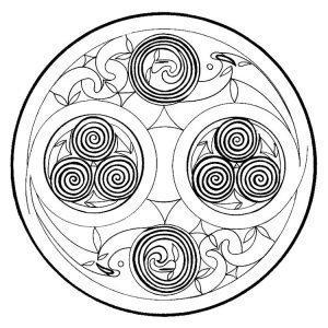 Мандала-тату со спиралью трафарет