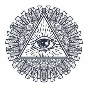 Тату мандала с символом Всевидящее око, эскиз 1
