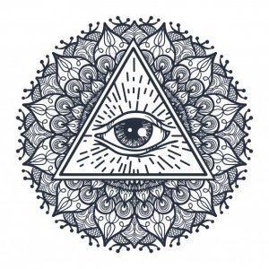 Тату мандала с символом Всевидящее око, эскиз 3