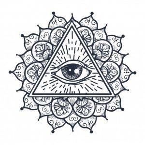 Тату мандала с символом Всевидящее око, эскиз 2