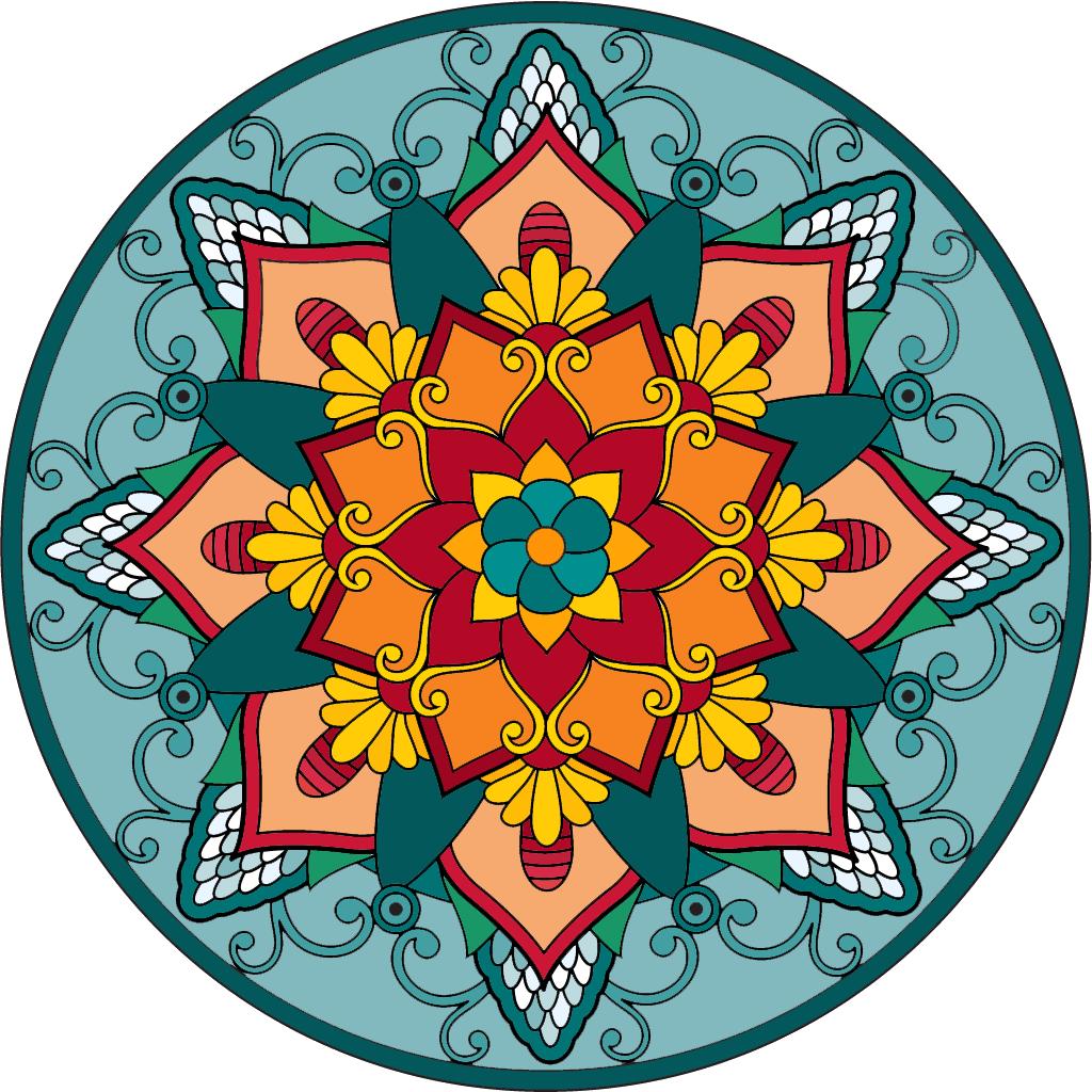 Мандала из счастливых цветов