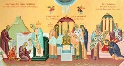 Жизнь Киприана и Устиньи на фресках в церкви св. Киприана на Кипре