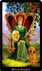 Королева Пентаклей. Колода Колдовское Таро Эллен Дуган