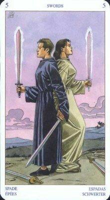 Пятерка Мечей. Колода Языческого Таро (Белой и Черной магии)