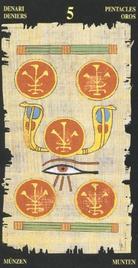 Пятерка Пентаклей. Египетское Таро