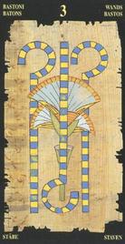 Тройка Жезлов. Египетское Таро