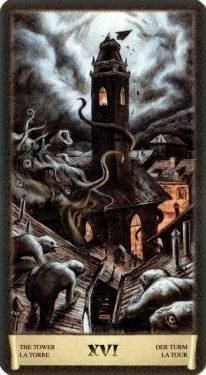 16 Башня. Таро Черный Гримуар (Некрономикон)