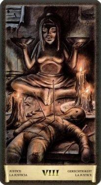 8 Правосудие. Таро Черный Гримуар (Некрономикон)
