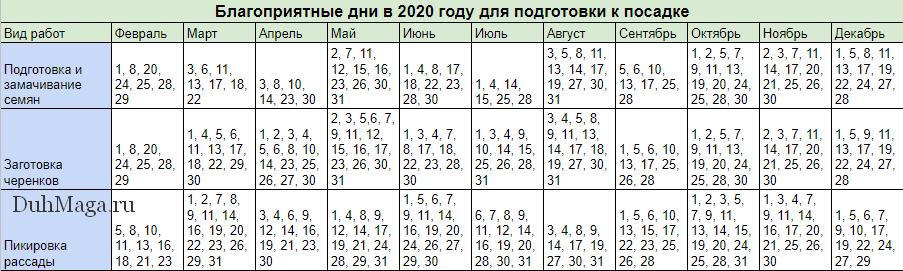 Благоприятные дни в 2020 году для подготовки к посадке