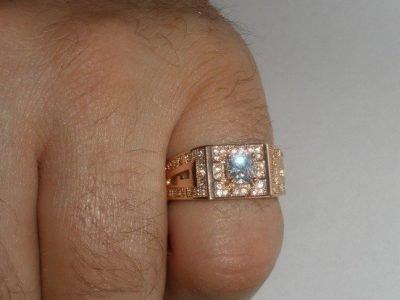 Мужской перстень с цирконом - оберег для Тельца