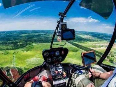 Полез на вертолете
